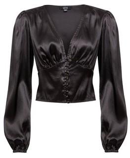 Dorothy Perkins Womens Lola Skye Black Button Through Satin Blouse, Black