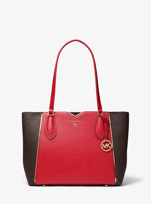 MICHAEL Michael Kors Mae Medium Pebbled Leather and Logo Tote Bag