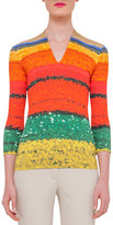 Akris 3/4-Sleeve Printed T-Shirt, Multi Colors