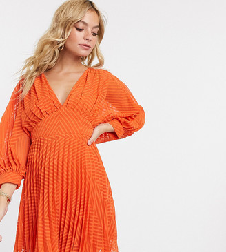 ASOS DESIGN Petite pleated batwing mini dress in chevron dobby in red