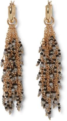 Sole Society Waterfall Beaded Chain Tassel Drop Huggie Earrings