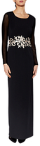 Gina Bacconi Jasmine Embroidered Waist Maxi Dress, Black