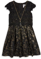 Rare Editions Girls 7-16 Metallic Lace Dress and Necklace Set