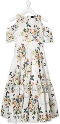 MonnaLisa Floral-Print Flared Dress