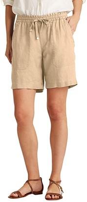 Lauren Ralph Lauren Linen Drawcord Shorts (Dark Sage) Women's Shorts