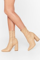 Nasty Gal Ridin' High Faux Leather Sock Boots