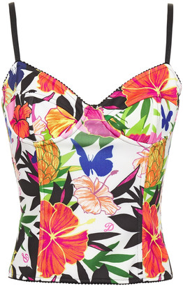 Dundas Floral-print Ponte Bustier Top