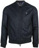 Giorgio Armani Jeans Sweat Top Shawl Collar in Black L