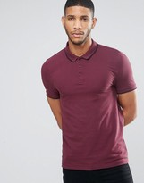 Asos Muscle Pique Polo Shirt With Contrast Collar And Sleeve Tipping In Conker/Black