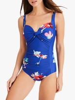 Phase Eight Monica Floral Print Swimsuit, Blue/Multi