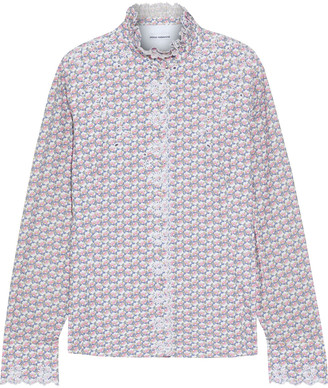 Paco Rabanne Printed Broderie Anglaise Cotton Shirt