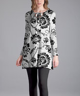 Lily Black & White Floral Tie-Yoke Scoop Neck Tunic - Plus Too