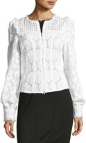 Andrew Gn Zip-Front Lace Eyelet Jacket, White
