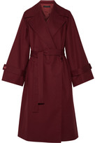 The Row Swells Oversized Stretch-cotton Coat - Claret