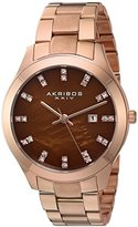 Akribos XXIV Women's Rose-Tone Case with Genuine Swarovski Crystals and Brown Mother-of-Pearl Dial on Rose-Tone Stainless Steel Bracelet Watch AK954RGBR