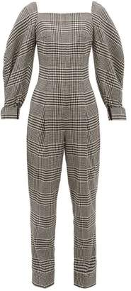 Emilia Wickstead Elsie Prince Of Wales-check Wool-blend Jumpsuit - Womens - Black White