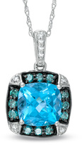 Zales 8.0mm Cushion-Cut Swiss Blue Topaz and 1/3 CT. T.W. Enhanced Blue and White Diamond Pendant in 10K White Gold