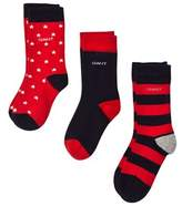 Gant 3 Pack of Red Stripe, Star and Solid Socks