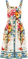 Dolce & Gabbana Floral-print Cotton-poplin Dress - White