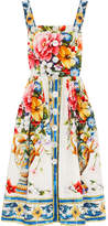 Dolce & Gabbana Floral-print Cotton-poplin Midi Dress - White