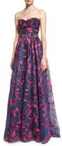 Marchesa Strapless Sweetheart Floral Embroidered Ball Gown, Navy