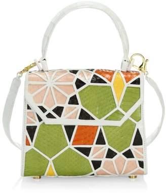 Nancy Gonzalez Lily Mosiac Crocodile & Snakeskin Top Handle Bag
