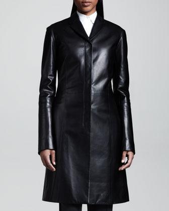 The Row Mid-Length Leather Coat