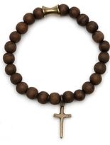 Elizabeth And James Dark Wood Bead Cross Charm Bracelet