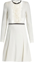 Giambattista Valli Lace-panelled long-sleeved cady dress