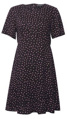 Dorothy Perkins Womens Pink Spot Print Woven Empire Seam Fit And Flare Dress