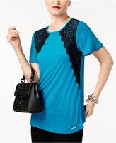 MICHAEL Michael Kors Crew-Neck Lace-Appliqué T-Shirt
