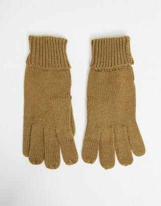 ASOS DESIGN roll back knitted gloves in camel