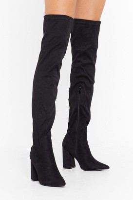 Nasty Gal Womens PU Stretch Flare Heel OTK Boots - black - 3
