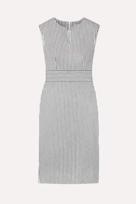 Max Mara Caraffa Striped Stretch Cotton And Linen-blend Dress - Gray