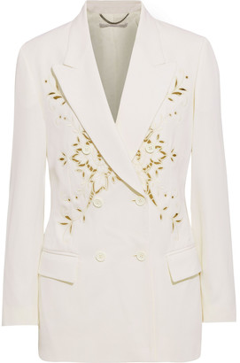 Stella McCartney Cristal Double-breasted Broderie Anglaise Twill Blazer