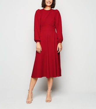 New Look Missfiga Puff Sleeve Midi Skater Dress