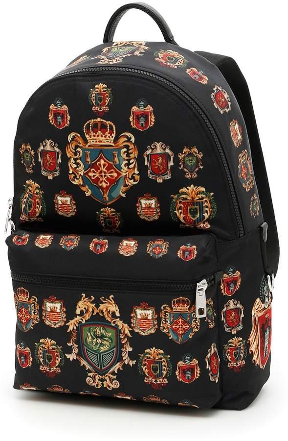 Dolce & Gabbana Badge Print Nylon Backpack