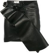 Saint Laurent asymmetric ruffle skirt - women - Silk/Lamb Skin - 36