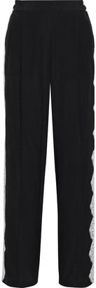 Stella McCartney Lola Lace-trimmed Silk Crepe De Chine Wide-leg Pants