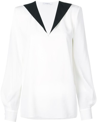 Givenchy contrast V-neck blouse