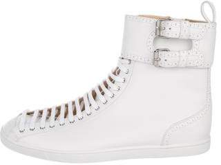 Christian Louboutin Brogue-Trimmed High-Top Sneakers