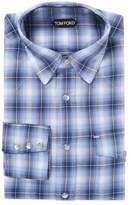 Tom Ford Men's Cotton Plaid Pocket Dress Shirt