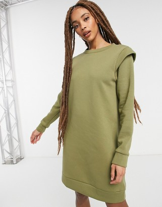 Pieces sweater dress with shoulder detail in khaki