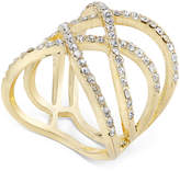INC International Concepts Gold-Tone Pavé Crisscross Statement Ring, Created for Macy's