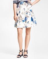 Brooks Brothers Cotton Pleated Printed Skirt