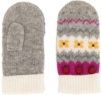 Familiar Intarsia Knit Apple Motif Mittens