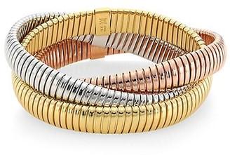 Alberto Milani 18K Tri-Gold Three Row Tubogas Flex Wrap Bracelet
