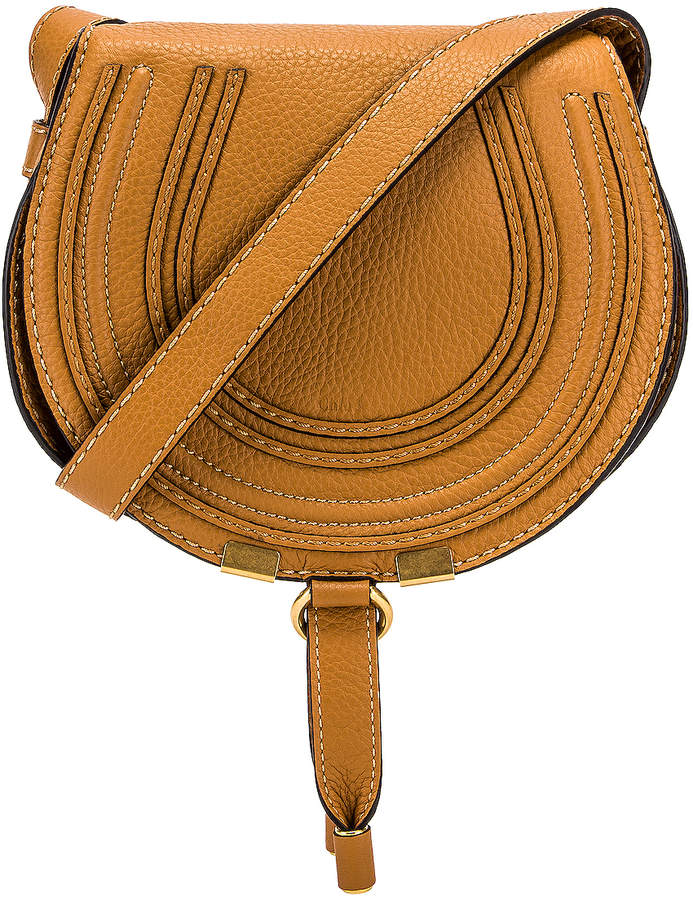 Chloé Small Marcie Grained Calfskin Saddle Bag in Autumal Brown | FWRD