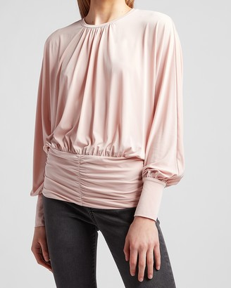 Express Ruched Banded Bottom Dolman Sleeve Top