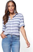 New York & Co. Soho Soft Shirt - One-Pocket - Stripe